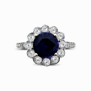 Sapphire & Diamond Floral Cluster Ring - 1.50ct